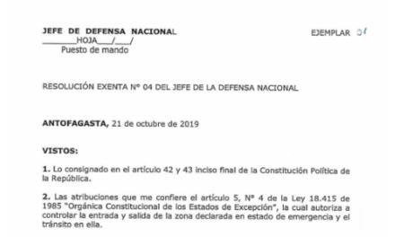RESOLUCIÓN EXENTA Nº4, JEFATURA DE LA DEFENSA NACIONAL DE ANTOFAGASTA
