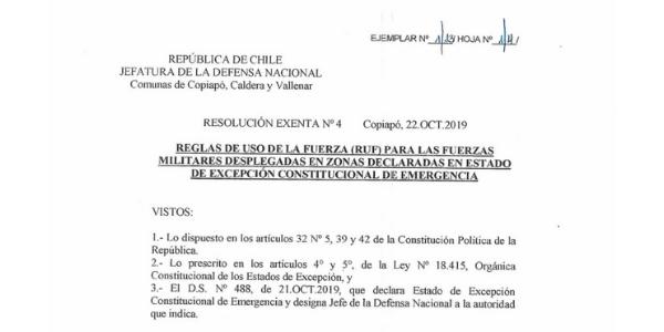 RESOLUCIÓN EXENTA Nº4, JEFATURA DE LA DEFENSA NACIONAL DE COPIAPÓ, CALDERA & VALLENAR