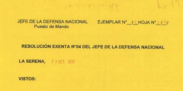 """<h1 class=""""blogtitle"""">RESOLUCIÓN EXENTA Nº4, JEFATURA DE LA DEFENSA NACIONAL DE COQUIMBO & LA SERENA</h1>"""