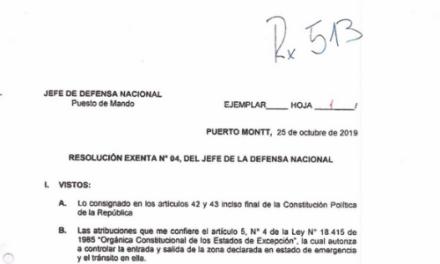 RESOLUCIÓN EXENTA Nº4, JEFATURA DE LA DEFENSA NACIONAL PUERTO MONTT & OSORNO