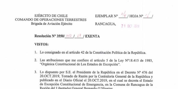RESOLUCIÓN EXENTA Nº4, JEFATURA DE LA DEFENSA NACIONAL DE RANCAGUA