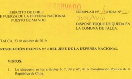 RESOLUCIÓN EXENTA Nº4, JEFATURA DE LA DEFENSA NACIONAL DE TALCA