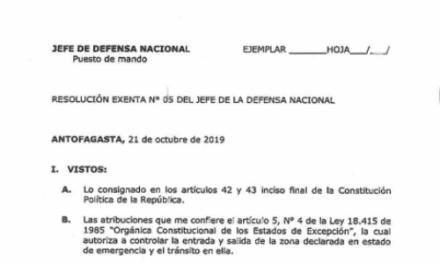 RESOLUCIÓN EXENTA Nº5, JEFATURA DE LA DEFENSA NACIONAL DE ANTOFAGASTA
