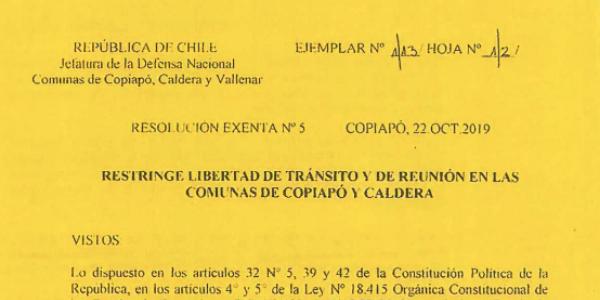 RESOLUCIÓN EXENTA Nº5, JEFATURA DE LA DEFENSA NACIONAL DE COPIAPÓ, CALDERA & VALLENAR