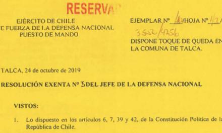 RESOLUCIÓN EXENTA Nº5, JEFATURA DE LA DEFENSA NACIONAL DE TALCA