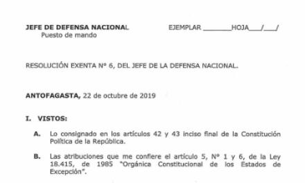 RESOLUCIÓN EXENTA Nº6, JEFATURA DE LA DEFENSA NACIONAL DE ANTOFAGASTA