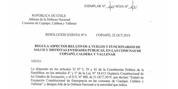 RESOLUCIÓN EXENTA Nº6, JEFATURA DE LA DEFENSA NACIONAL DE COPIAPÓ, CALDERA & VALLENAR