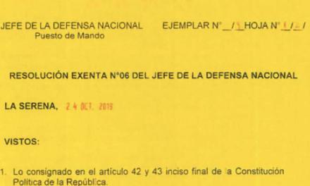 RESOLUCIÓN EXENTA Nº6, JEFATURA DE LA DEFENSA NACIONAL DE COQUIMBO & LA SERENA