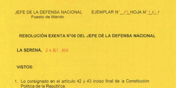 """<h1 class=""""blogtitle"""">RESOLUCIÓN EXENTA Nº6, JEFATURA DE LA DEFENSA NACIONAL DE COQUIMBO & LA SERENA</h1>"""