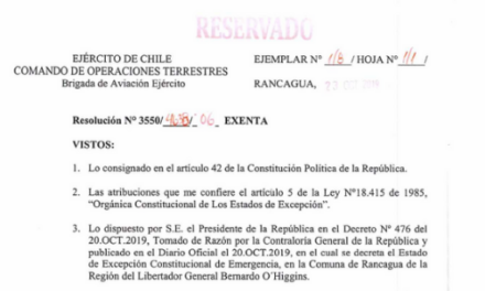 RESOLUCIÓN EXENTA Nº6, JEFATURA DE LA DEFENSA NACIONAL DE RANCAGUA