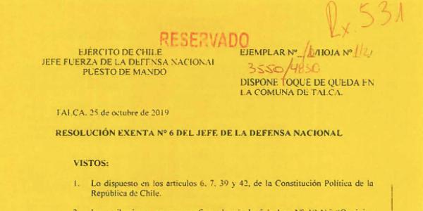"<h1 class=""blogtitle"">RESOLUCIÓN EXENTA Nº6, JEFATURA DE LA DEFENSA NACIONAL DE TALCA</h1>"