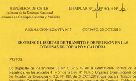 RESOLUCIÓN EXENTA Nº7, JEFATURA DE LA DEFENSA NACIONAL DE COPIAPÓ, CALDERA & VALLENAR