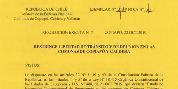 "<h1 class=""blogtitle"">RESOLUCIÓN EXENTA Nº7, JEFATURA DE LA DEFENSA NACIONAL DE COPIAPÓ, CALDERA & VALLENAR</h1>"