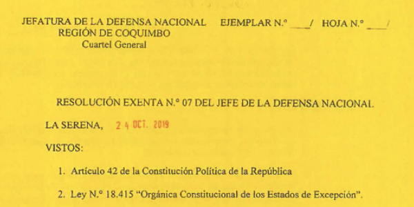 RESOLUCIÓN EXENTA Nº7, JEFATURA DE LA DEFENSA NACIONAL DE COQUIMBO & LA SERENA