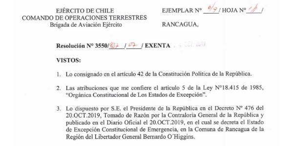RESOLUCIÓN EXENTA Nº7, JEFATURA DE LA DEFENSA NACIONAL DE RANCAGUA