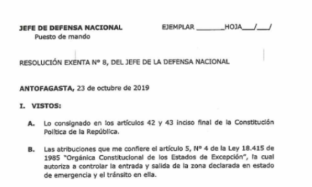 RESOLUCIÓN EXENTA Nº8, JEFATURA DE LA DEFENSA NACIONAL DE ANTOFAGASTA