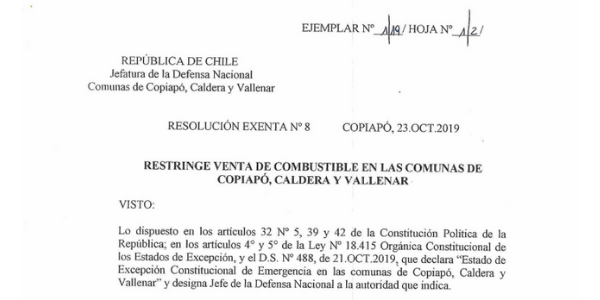 RESOLUCIÓN EXENTA Nº8, JEFATURA DE LA DEFENSA NACIONAL DE COPIAPÓ, CALDERA & VALLENAR