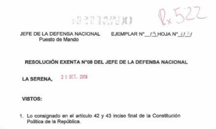 RESOLUCIÓN EXENTA Nº8, JEFATURA DE LA DEFENSA NACIONAL DE COQUIMBO & LA SERENA