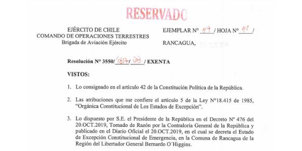 RESOLUCIÓN EXENTA Nº8, JEFATURA DE LA DEFENSA NACIONAL DE RANCAGUA