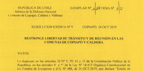 RESOLUCIÓN EXENTA Nº9, JEFATURA DE LA DEFENSA NACIONAL DE COPIAPÓ, CALDERA & VALLENAR