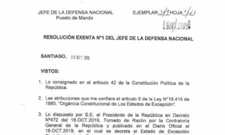 RESOLUCIÓN EXENTA N°1, JEFATURA DE LA DEFENSA NACIONAL DE SANTIAGO