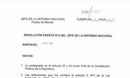 RESOLUCIÓN EXENTA N°2, JEFATURA DE LA DEFENSA NACIONAL DE SANTIAGO