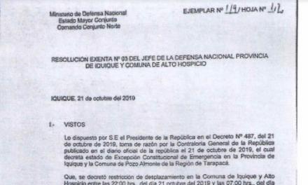 RESOLUCIÓN EXENTA Nº3, JEFATURA DE LA DEFENSA NACIONAL DE IQUIQUE Y ALTO HOSPICIO