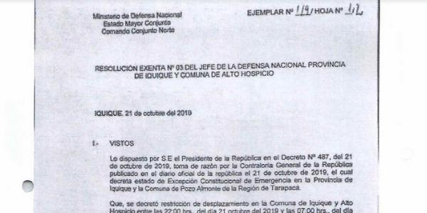 """<h1 class=""""blogtitle"""">RESOLUCIÓN EXENTA Nº3, JEFATURA DE LA DEFENSA NACIONAL DE IQUIQUE Y ALTO HOSPICIO</h1>"""