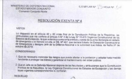 RESOLUCIÓN EXENTA Nº4, JEFATURA DE LA DEFENSA NACIONAL DE IQUIQUE Y ALTO HOSPICIO