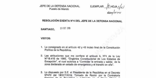 RESOLUCIÓN EXENTA N°4.1, JEFATURA DE LA DEFENSA NACIONAL DE SANTIAGO