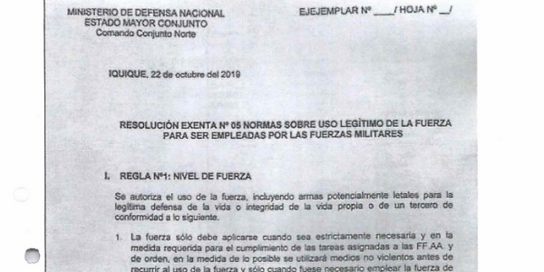 RESOLUCIÓN EXENTA Nº5, JEFATURA DE LA DEFENSA NACIONAL DE IQUIQUE Y ALTO HOSPICIO