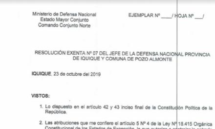 """<h1 class=""""blogtitle"""">RESOLUCIÓN EXENTA Nº7, JEFATURA DE LA DEFENSA NACIONAL DE IQUIQUE Y ALTO HOSPICIO</h1>"""