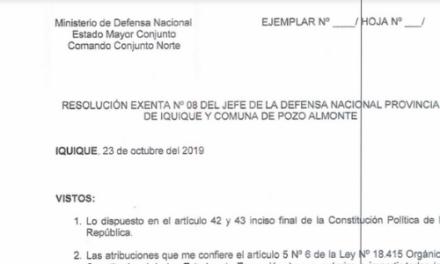 RESOLUCIÓN EXENTA Nº8, JEFATURA DE LA DEFENSA NACIONAL DE IQUIQUE Y ALTO HOSPICIO