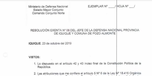 """<h1 class=""""blogtitle"""">RESOLUCIÓN EXENTA Nº8, JEFATURA DE LA DEFENSA NACIONAL DE IQUIQUE Y ALTO HOSPICIO</h1>"""
