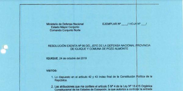 RESOLUCIÓN EXENTA Nº9, JEFATURA DE LA DEFENSA NACIONAL DE IQUIQUE Y ALTO HOSPICIO