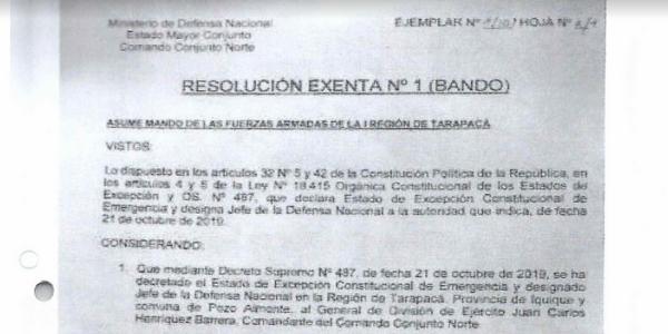 RESOLUCIÓN EXENTA Nº1, JEFATURA DE LA DEFENSA NACIONAL DE IQUIQUE Y ALTO HOSPICIO