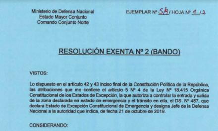 RESOLUCIÓN EXENTA Nº2, JEFATURA DE LA DEFENSA NACIONAL DE IQUIQUE Y ALTO HOSPICIO