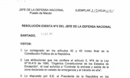 RESOLUCIÓN EXENTA N°5, JEFATURA DE LA DEFENSA NACIONAL DE SANTIAGO