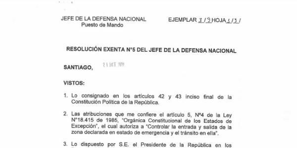 "<h1 class=""blogtitle"">RESOLUCIÓN EXENTA N°5, JEFATURA DE LA DEFENSA NACIONAL DE SANTIAGO</h1>"