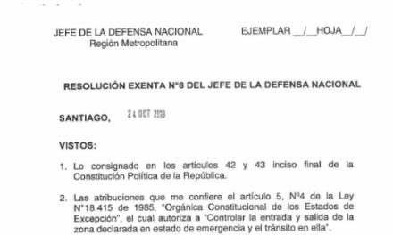RESOLUCIÓN EXENTA N°8, JEFATURA DE LA DEFENSA NACIONAL DE SANTIAGO