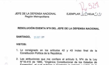 RESOLUCIÓN EXENTA N°9, JEFATURA DE LA DEFENSA NACIONAL DE SANTIAGO