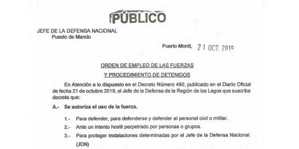 REGLAS DE USO DE LA FUERZA, JEFATURA DE LA DEFENSA NACIONAL PUERTO MONTT & OSORNO