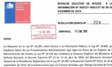 RESOLUCIÓN EXENTA Nº224, SUBSECRETARÍA PARA LAS FF.AA.