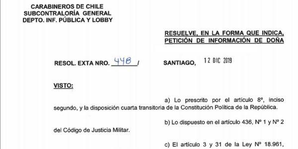 RESOLUCIÓN EXENTA N° 448, CARABINEROS DE CHILE