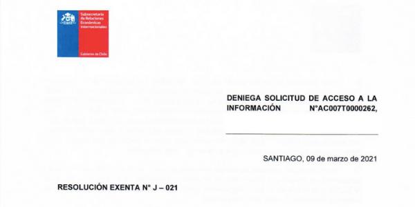 RESOLUCIÓN EXENTA NºJ-021, SUBSECRETARÍA DE RELACIONES ECONÓMICAS INTERNACIONALES