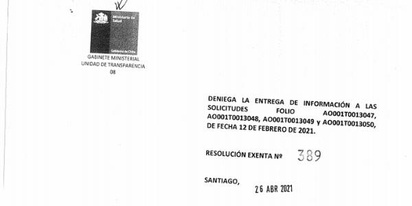 RESOLUCIÓN EXENTA Nº389, SUBSECRETARÍA DE SALUD PÚBLICA