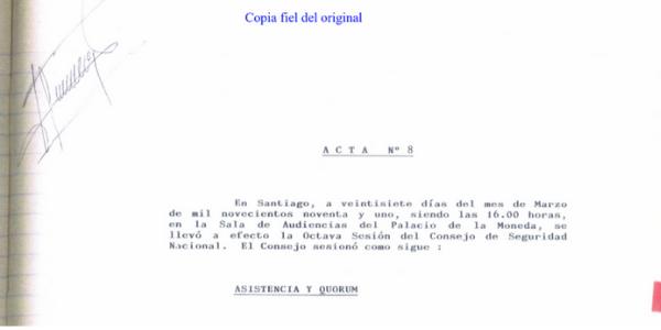 "<h1 class=""blogtitle"">ACTA N°8 CONSEJO DE SEGURIDAD NACIONAL, 27 DE MARZO DE 1991</h1>"